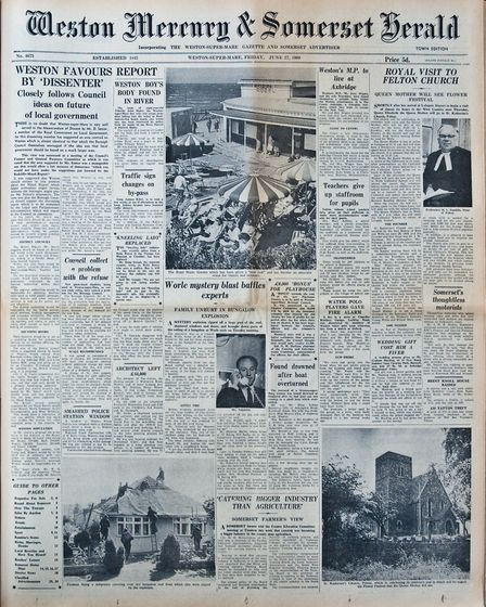 Front Page 27th June 1969 Edition. Picture: WESTON MERCURY