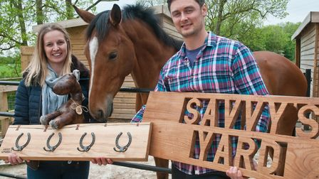 Adam and Tracey Brownlow with Savvy, starting a new business venture called Savvy's Yard. Picture