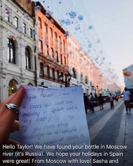 Taylor's letter which was placed in a bottle and thrown out to sea
