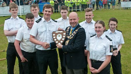 Weston Air Festival and Armed Forces Weekend. Winners of the Tug of War, Weston Police Cadets, prese