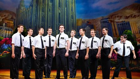 The company of The Book of Mormon musical.Picture: Paul Coltas