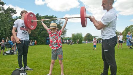 Owen trying some weight training with the help of Hugo Williams and Matt Benbridge from @theGym at H