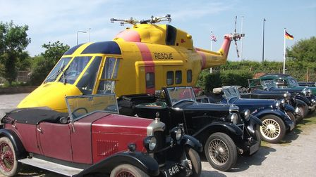 Classic cars at The Helicopter Museum.