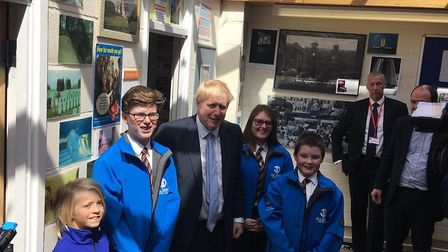 Boris Johnson with pupils at King Alfred School in Highbridge. Picture: Weston Mercury