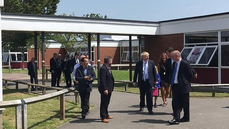 Boris Johnson with staff and pupils at King Alfred School in Highbridge. Picture: Weston Mercury