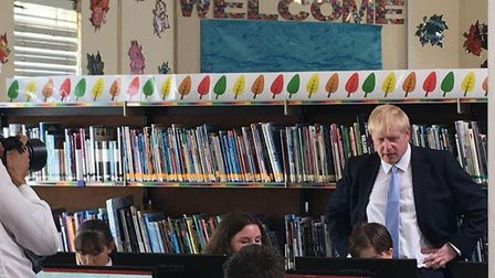 Boris Johnson overseeing work done by pupils. Picture: Weston Mercury