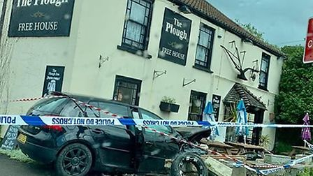 The Volkswagen crashed into a wall outside The Plough in Congresbury. Picture: Nathan Aylett