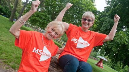 Fundraiser Karina Carver (right) and Janet Smith from the North Somerset branch of the MS Society ce