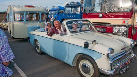 Peter Butler and Mary Nicholson with their Hillman Minx 'Milly' and caravan 'Tilly. Picture: MARK