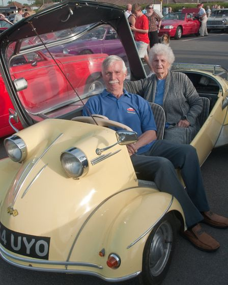 Winford and Jean Jones with their Messerschmitt Tiger from 1959. Picture: MARK ATHERTON
