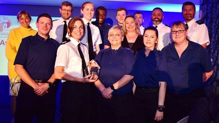 Police and Crime Commissioner Sue Mountstevens with policing team of the year winners the Weston tow