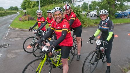 Wedmore 40 30 charity cycle ride. Cyclists starting out on 40 30 or 12 mile routes from Wedmore Play