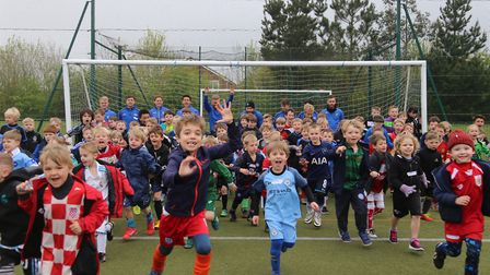 Children enjoying Priority Football coaching during the Easter holidays.