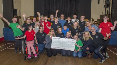 The Appleshed Theatre Company with their donation from the Thatchers Foundation.