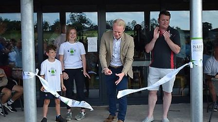 Brendan Dix, Development Manager at Somerset County FA, opens the new changing pavilion at Wedmore P