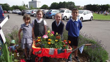 Primary schools in Weston took part in a wheelbarrow display competition