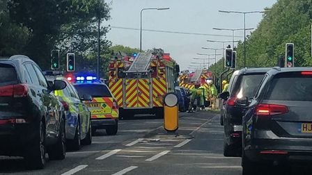 Firefighters at the scene this morning (Saturday). Picture: Eleanor Young