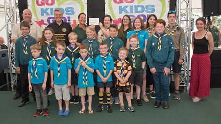 1st Milton Scouts receiving their cheque from ASquared Kate Bach and MC Tim Lamb at Weston Lions Clu