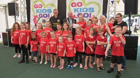 All Star Dance receiving their cheque from Mayor Cllr Mark Canniford and MC Tim Lamb at Weston Lions