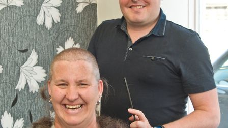 Clare Burrell having her head shaved for Macmillan cancer support, at Bright Hair, Waterloo Street,