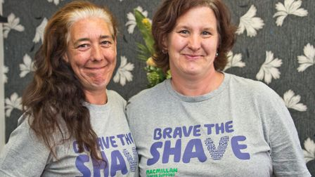 Clare Burrell and Jane Wood getting their heads' shaved for Macmillan cancer support, at Bright Hair