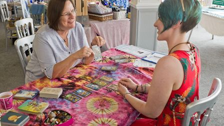 Jackie Thomson works psychically with Angel cards and more traditional tarot cards. Picture: MARK