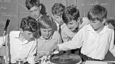 Michael Harper, Nicholas Taylor, Julian Parsons, Alan Letherby and Paul Robinson at the turntable at