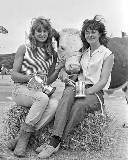 """Young Farmers Misses Mary and Phyllis Dament, of Shiplate House Farm, who won cups for """"best led and"""