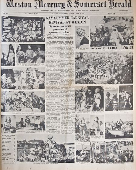 Front Page 18th July 1969 Edition. Picture: WESTON MERCURY