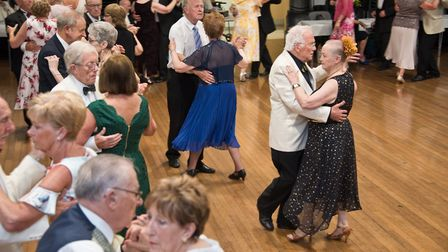 Mike and Vera Bancroft leading the dancing at the Cheddar Old Tyme and Modern Sequence Dance Club 50