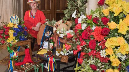 Mary Duncan-Burden's floral tribute to the Mendip Morris dancers at St Mary's Church,Yatton. Flower