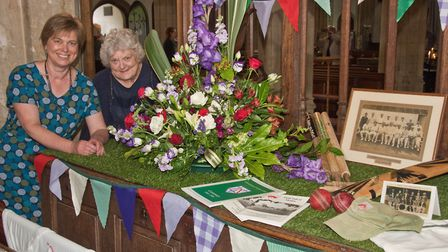Fiona Mann and Bridget Jarvis with their cricket club inspired display at St Mary's Church,Yatton. F