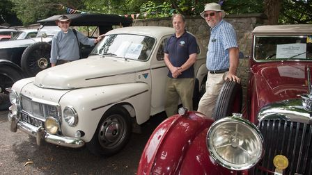 Rev. Nigel Thomas with Jean-Louis Maurin and his Volvo 544 and John Ball with his Bently Derby from