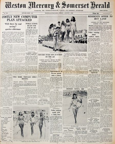 Front Page 1st August 1969 Edition. Picture: WESTON MERCURY
