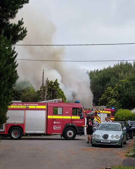 Crews are tackling a fire at a former care home in Kewstoke.Picture: Andrew Baxter