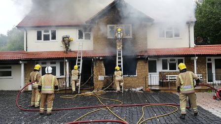 Firefighters tackle a blaze at a fromer carehome in Kewstoke. Picture: Avon Fire and Rescue Service
