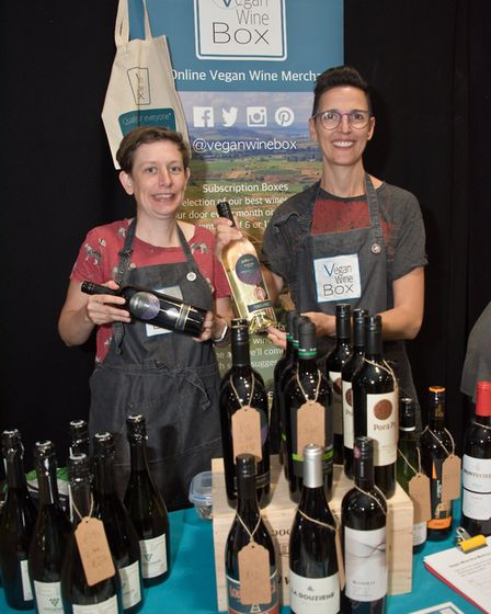 Emma Stowell and Dom Reed from the Vegan Wine Box. Weston Vegan Fair. Picture: MARK ATHERTON