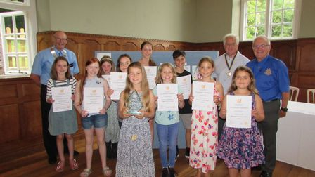 Youngsters receiving awards at Wringtons Barley Wood House.Picture: Wrington Vale Rotary Club