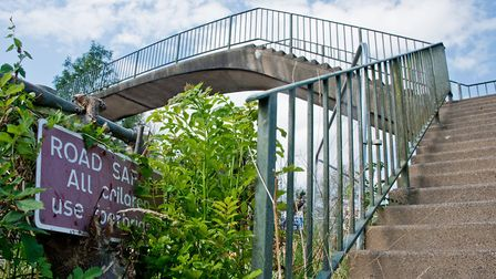 the footbridge that crosses the A371 between Locking village and Locking camp.. Picture: MARK ATH