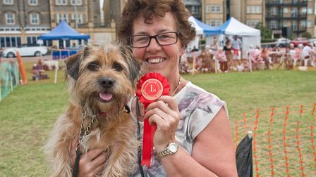 Shane Luxton with her dog Eric who won the healthiest dog class at Weston RSPCA dog show. Picture