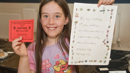 Inara Page with her prize winning handwriting at Weston-super-Mare Horticultural Society Flower Show