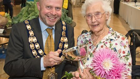 Prize winner Pauline Tapley with mayor Mark Canniford at Weston-super-Mare Horticultural Society Flo