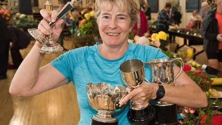 Amanda Du Rose with her trophies at Weston-super-Mare Horticultural Society Flower Show. Picture: