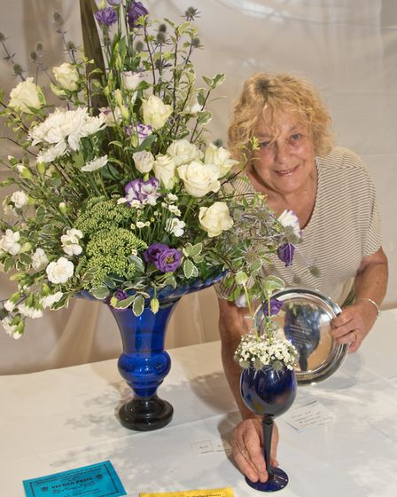 Kay Matthews with a trophy for most points in classes 116 and 118 at Weston-super-Mare Horticultural