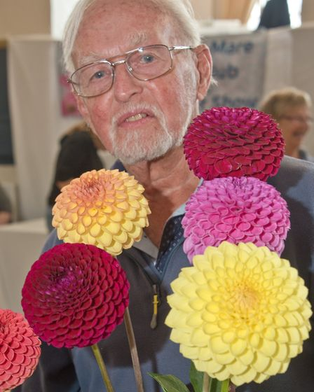Graham Mizen with his prize winning blooms at Weston-super-Mare Horticultural Society Flower Show.