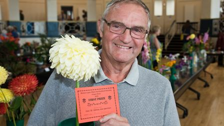 Alan Little with his prize winning Dahlia at Weston-super-Mare Horticultural Society Flower Show.