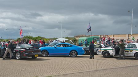 An American-style stop-and-arrest at the American Mustang muscle car show. Picture: MARK ATHERTO