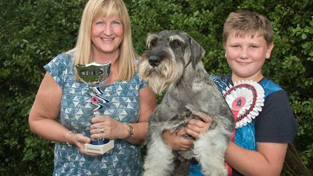 Reese Pepperd with Arthurs Best In Show trophy presented by Lynn White, widow of Al. Picture: MARK A