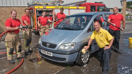 Weston firefighters car wash in aid of Gambia and Avon Fire Services in Partnership charity. Pict