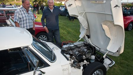 Malcom Lippiatt showing Julian Pool the immaculate engine of his GT6 at Redhill classic car meet.